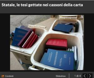 Milano, il ritrovamento di centinaia di Tesi di Laurea nei cassonetti della differenziata (Repubblica.it)