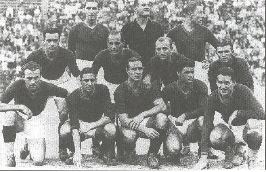 La Roma del campionato 1934-35: Guaita è accosciato al centro