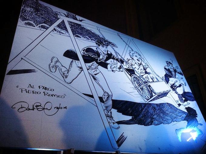 La tela disegnata da Daniele Bigliardo