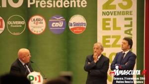 Da sinistra: Mario Oliverio, Ernesto Magorno e Matteo e Renzi