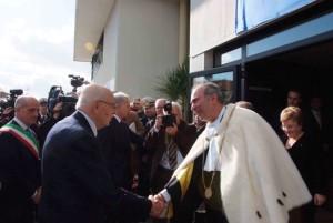 Il presidente Napolitano accolto dal rettore Latorre