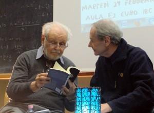 Da sinistra, Goffredo Fofi e Giacomo Panizza all'Università della Calabria