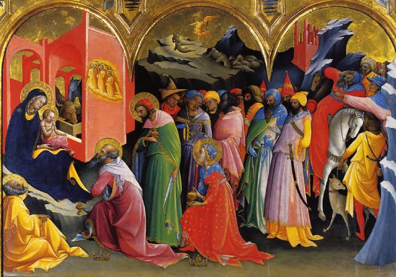 Lorenzo Monaco, Adorazione dei Magi, 1421 - 1422, tempera su tavola - Firenze, Galleria degli Uffizi ( da AA.VV., Gotico, Taschen 2007 )