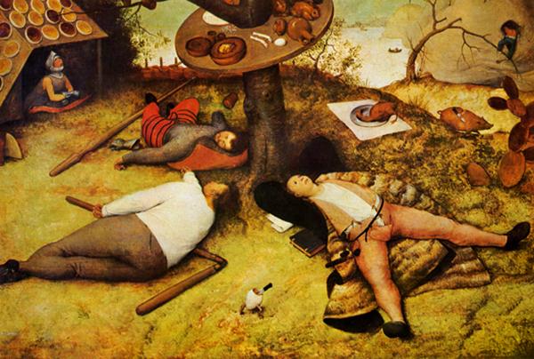 Pieter Bruegel il Vecchio, Il Paese di Cuccagna ( Luilekkerland ), 1567 circa.  Monaco di Baviera, Alte Pinakothek.