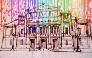 Un disegno di Palazzo San Giorgio, sede del consiglio comunale reggino.