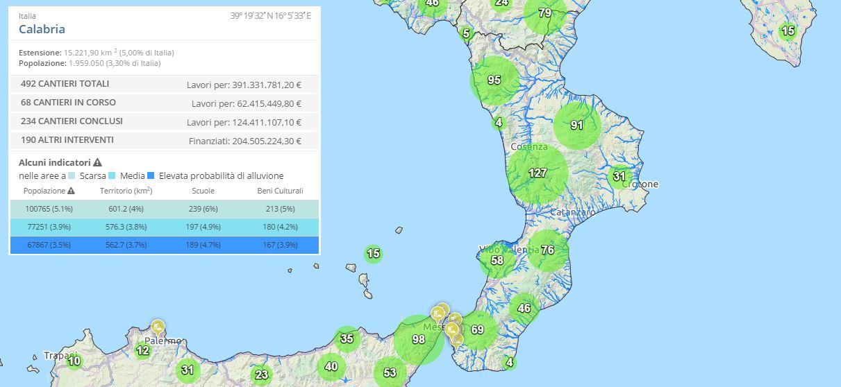 La situazione in Calabria aggiornata al 4 ottobre